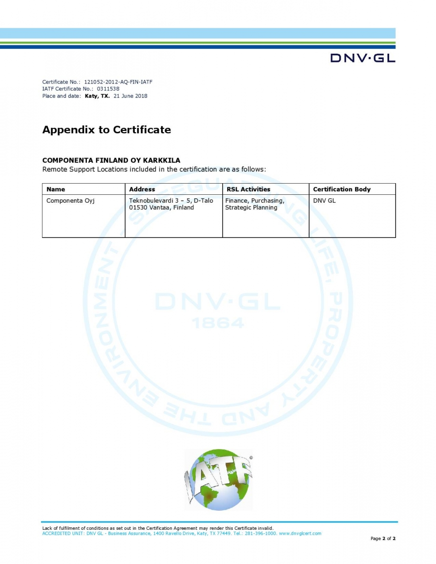Certified production   Componenta Group